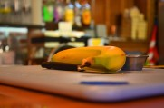 A banana sits on a cutting board at Günter Hans on November 20, 2013. The banana is one of the toppings of the hand crafted liege waffle. Photo by Berkeley Lovelace Jr.